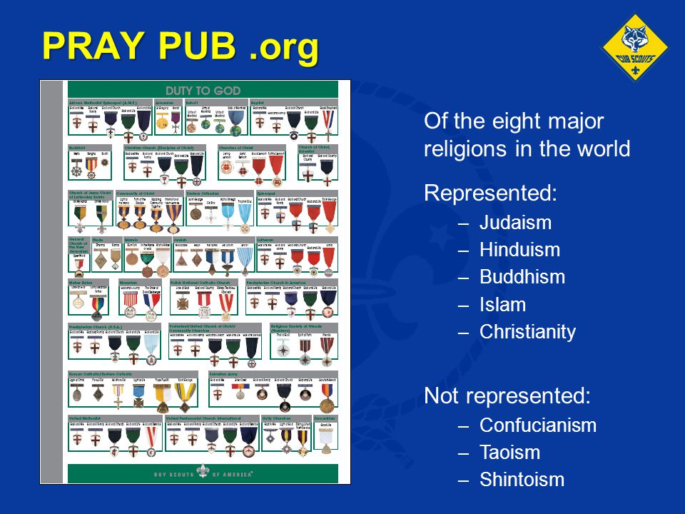PRAY PUB .org Of the eight major religions in the world Represented: