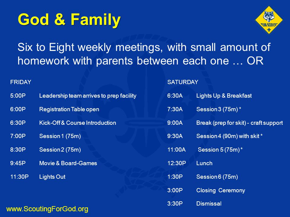 God & Family Six to Eight weekly meetings, with small amount of homework with parents between each one … OR.