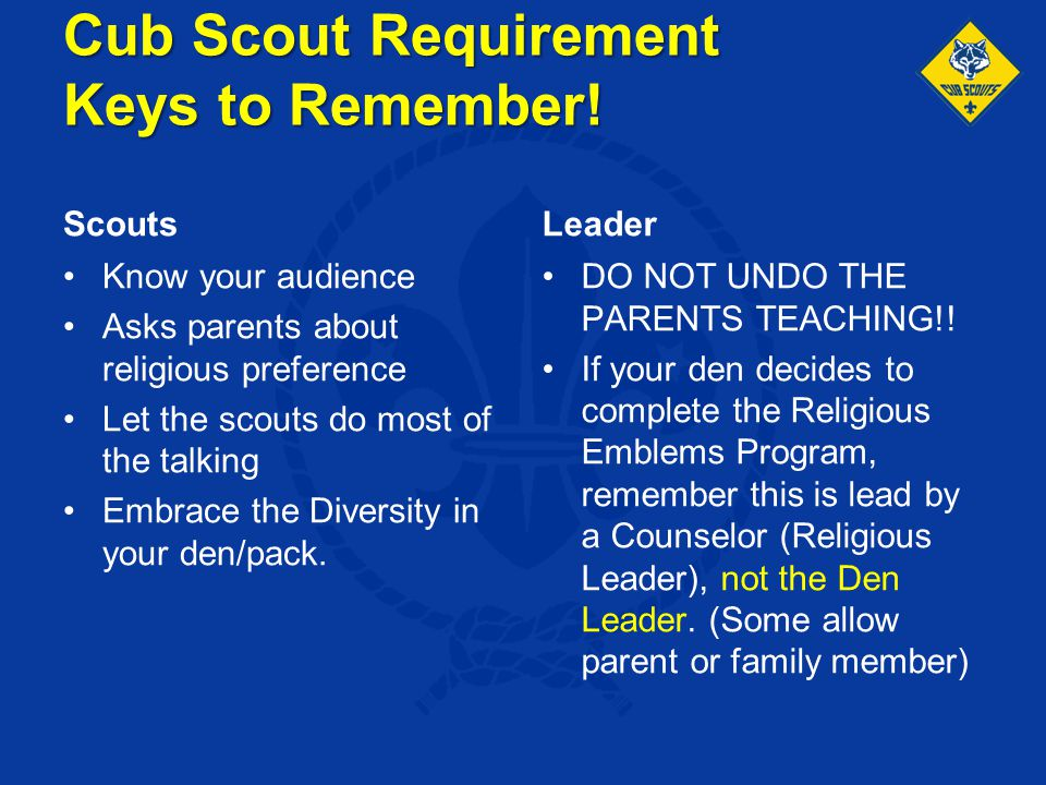 Cub Scout Requirement Keys to Remember!