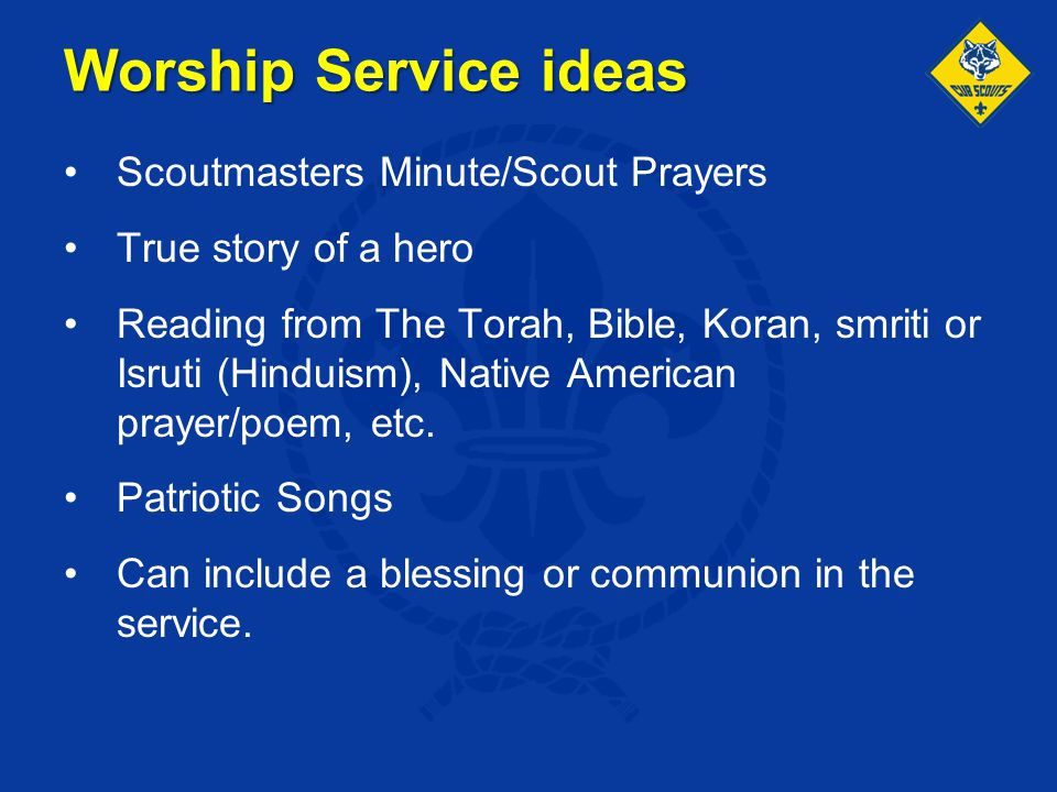Worship Service ideas Scoutmasters Minute/Scout Prayers