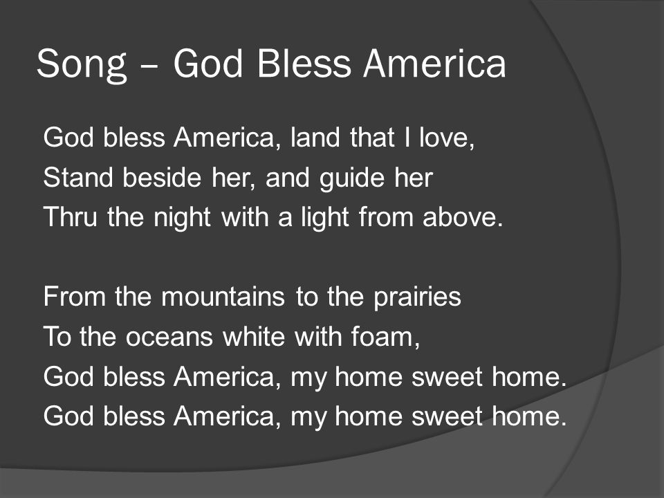 Song – God Bless America