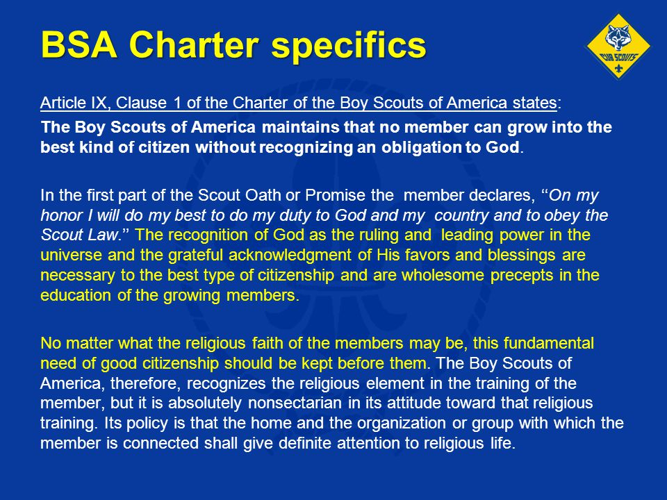 BSA Charter specifics
