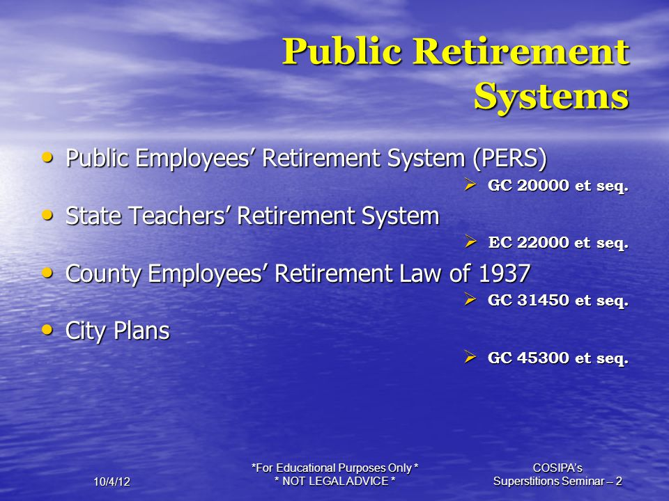 Public Retirement Systems