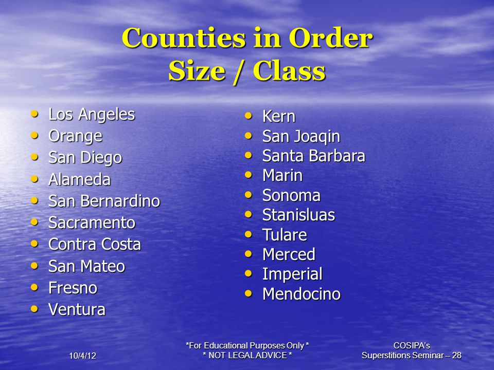 Counties in Order Size / Class
