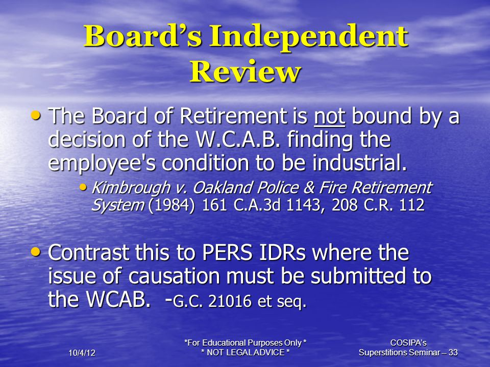 Board's Independent Review