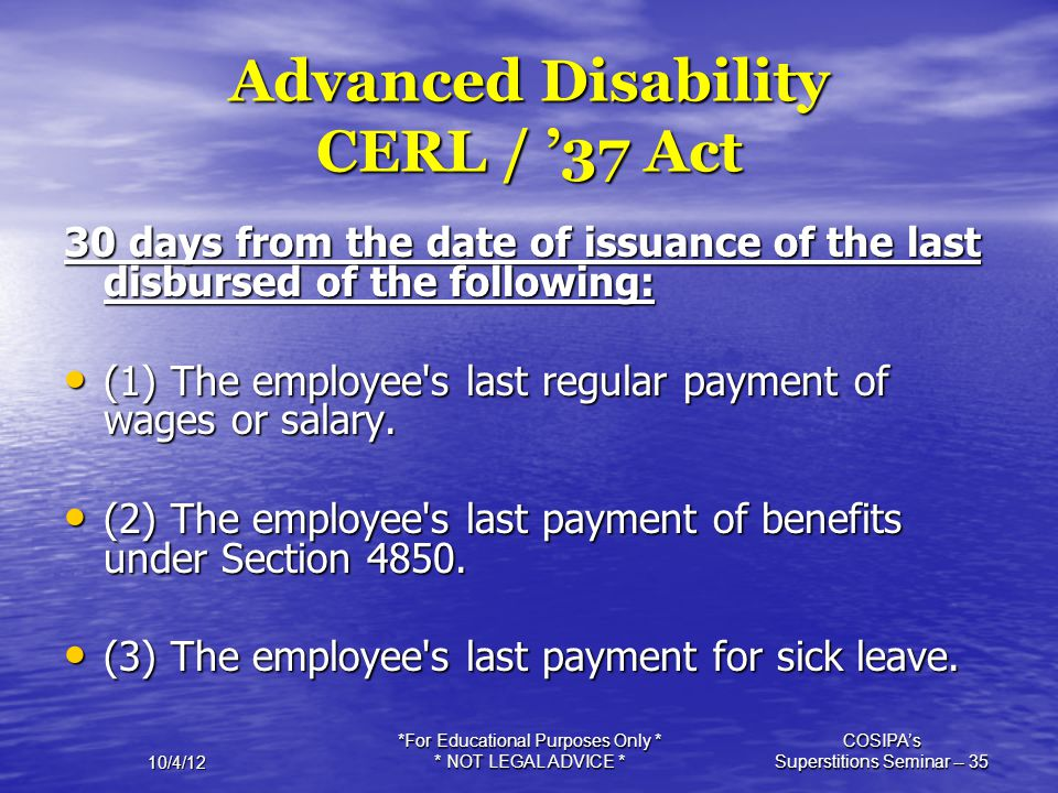 Advanced Disability CERL / '37 Act