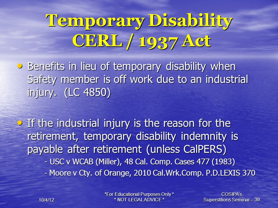 Temporary Disability CERL / 1937 Act