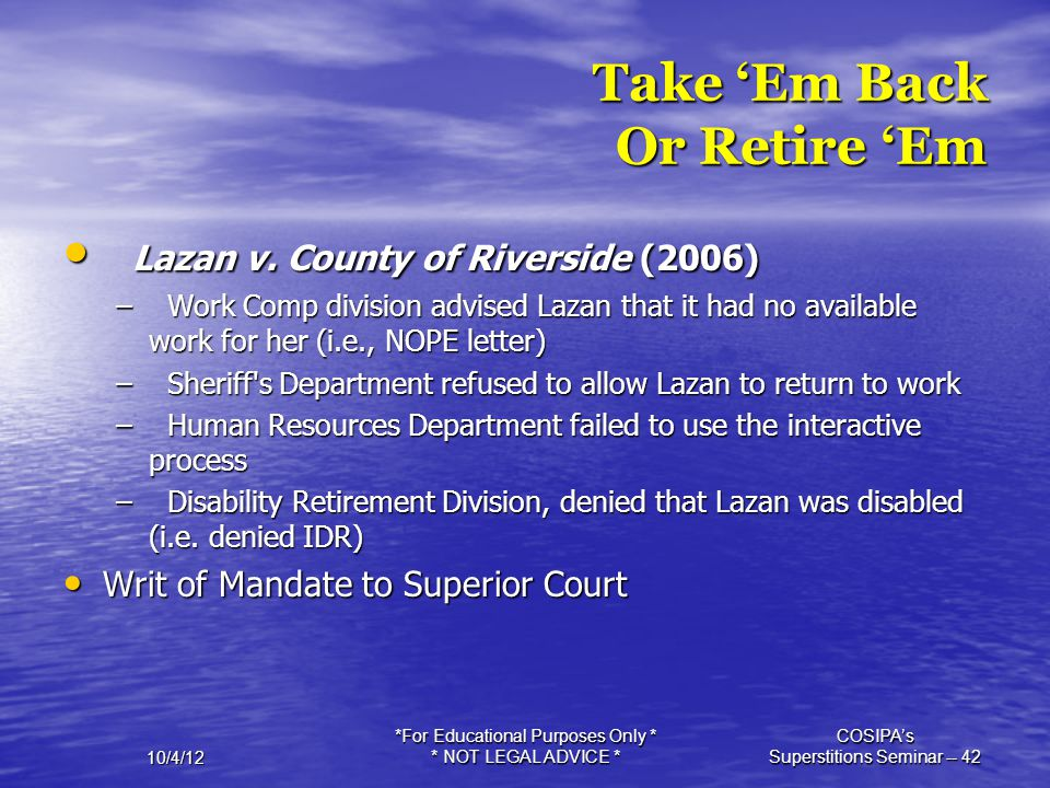 Take 'Em Back Or Retire 'Em
