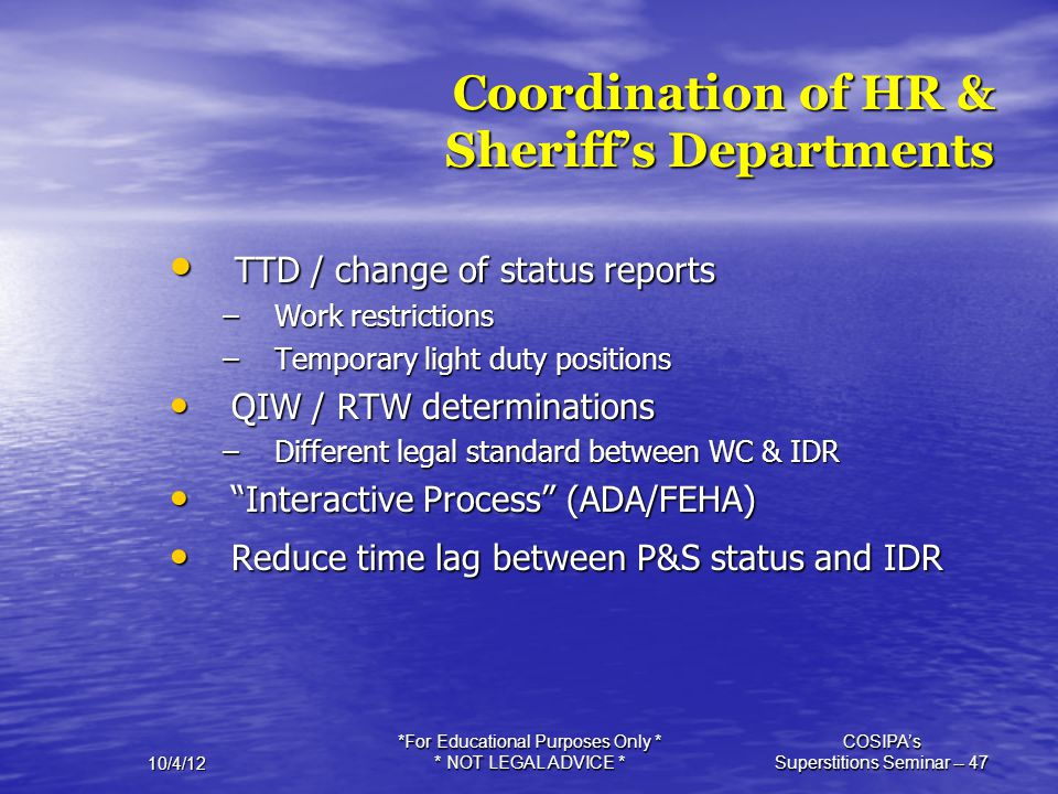 Coordination of HR & Sheriff's Departments