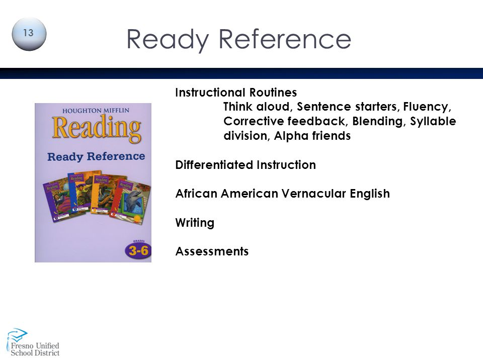 Ready Reference Instructional Routines