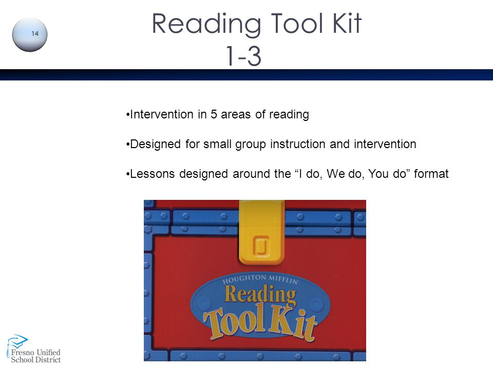 Reading Tool Kit 1-3 Intervention in 5 areas of reading
