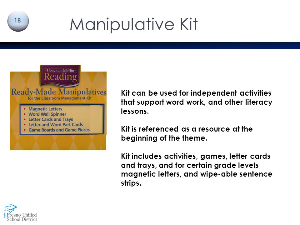Manipulative Kit Kit can be used for independent activities that support word work, and other literacy lessons.