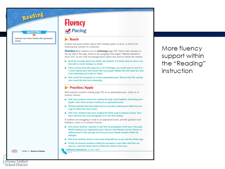 More fluency support within the Reading instruction
