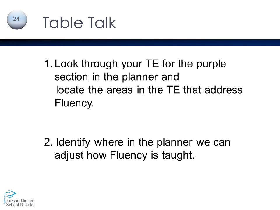 Table Talk Look through your TE for the purple section in the planner and. locate the areas in the TE that address Fluency.