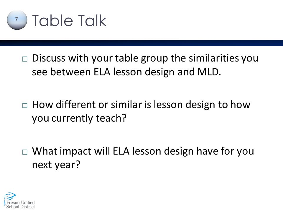 Table Talk Discuss with your table group the similarities you see between ELA lesson design and MLD.
