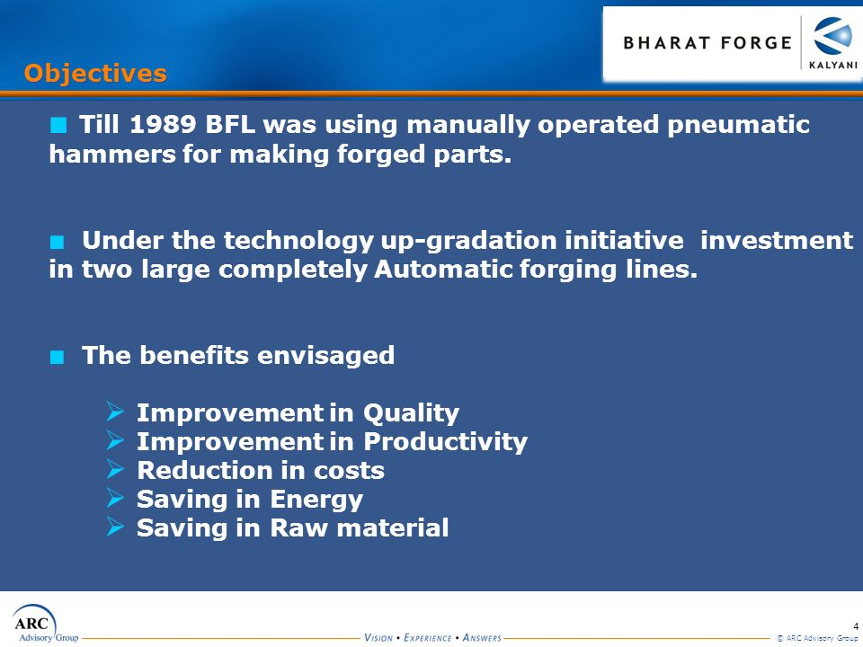 Objectives Till 1989 BFL was using manually operated pneumatic hammers for making forged parts.