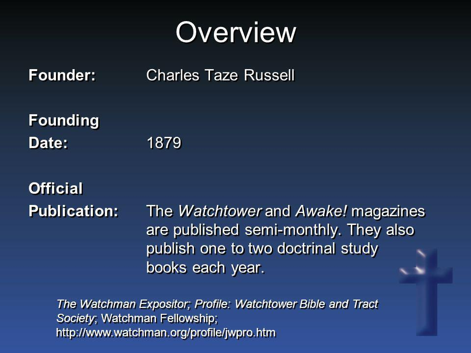 Overview Founder: Charles Taze Russell Founding Date: 1879 Official