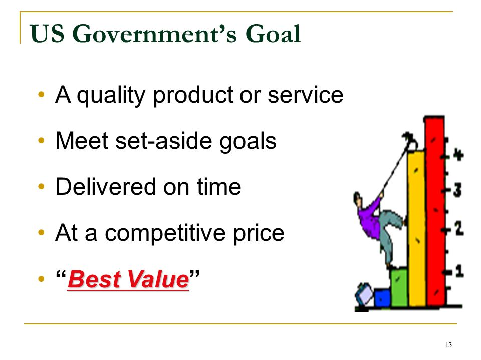 US Government's Goal A quality product or service Meet set-aside goals