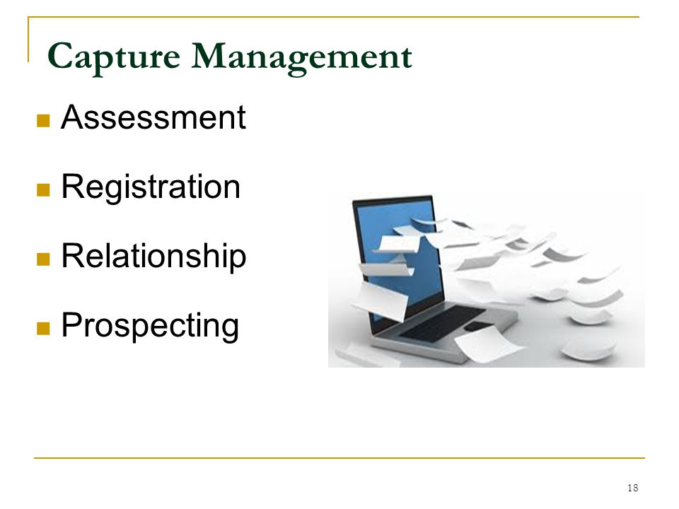 Capture Management Assessment Registration Relationship Prospecting