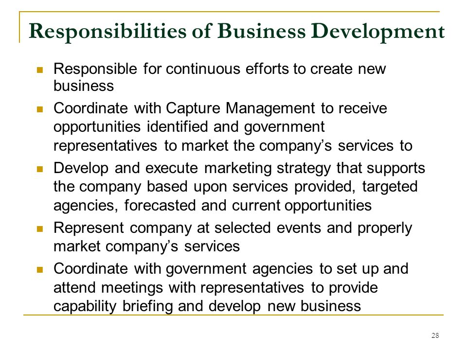 Responsibilities of Business Development