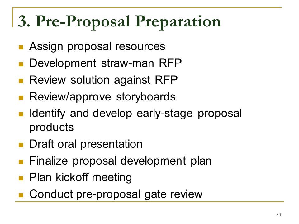 3. Pre-Proposal Preparation