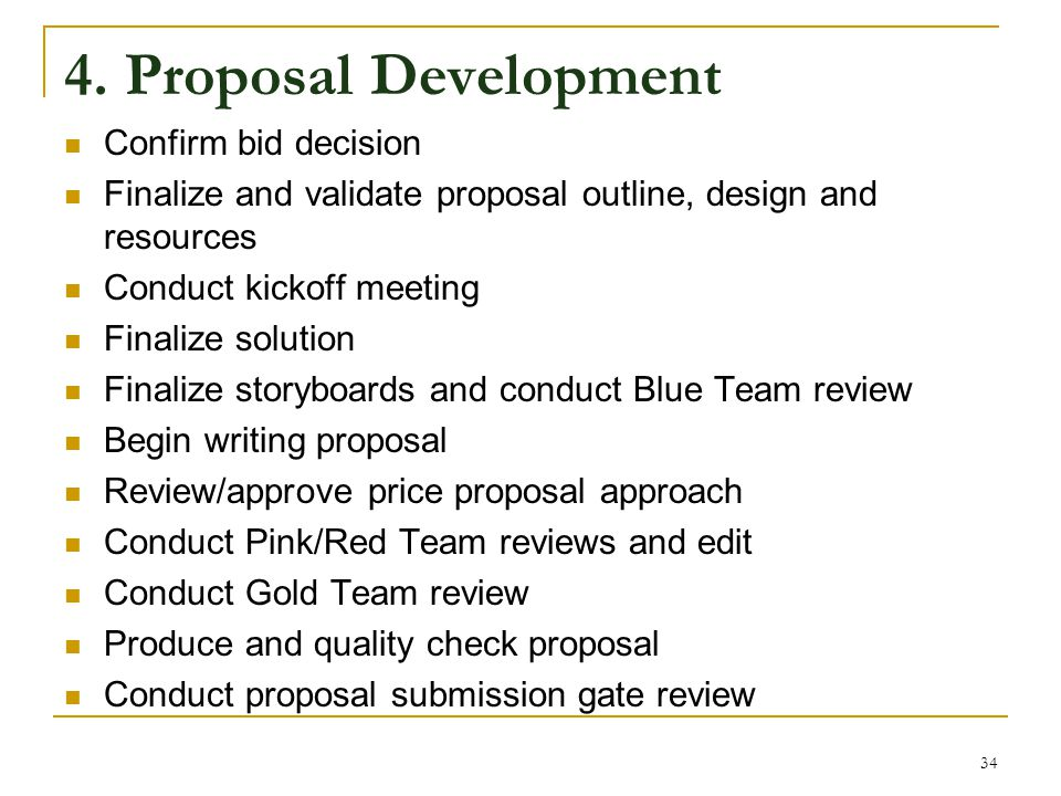 4. Proposal Development Confirm bid decision