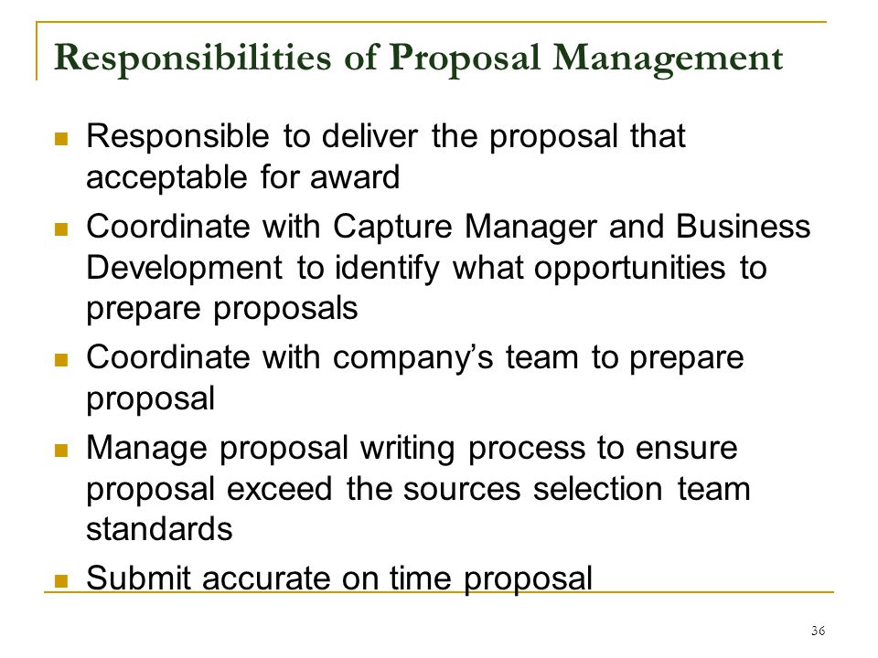 Responsibilities of Proposal Management