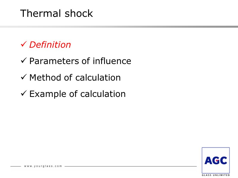Thermal shock Definition Parameters of influence Method of calculation