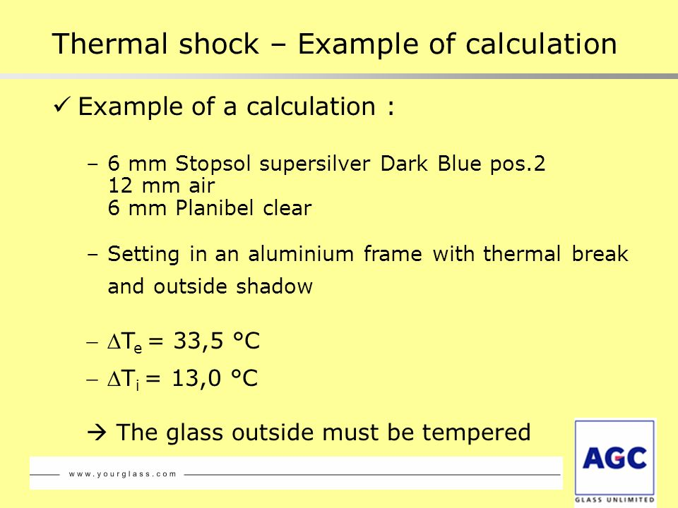Thermal shock – Example of calculation
