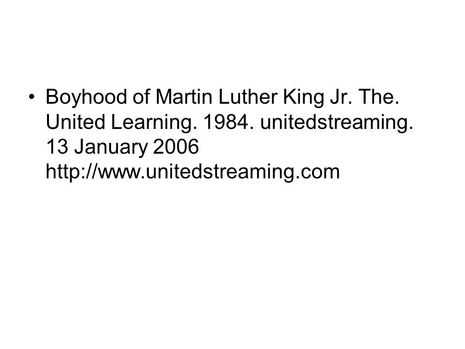 Boyhood of Martin Luther King Jr. The. United Learning. 1984