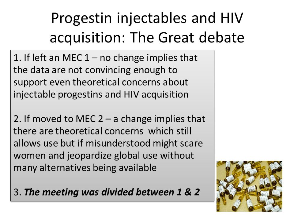Progestin injectables and HIV acquisition: The Great debate