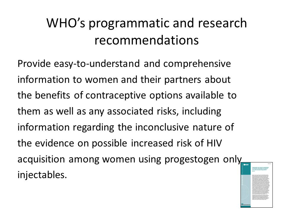 WHO's programmatic and research recommendations