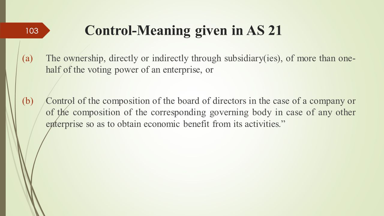 Control-Meaning given in AS 21