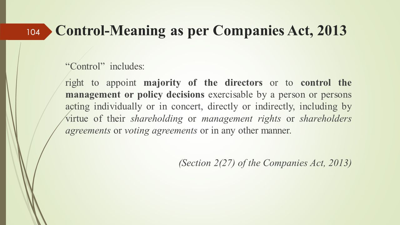 Control-Meaning as per Companies Act, 2013