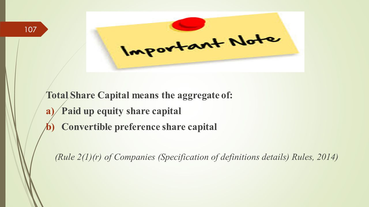 Total Share Capital means the aggregate of: