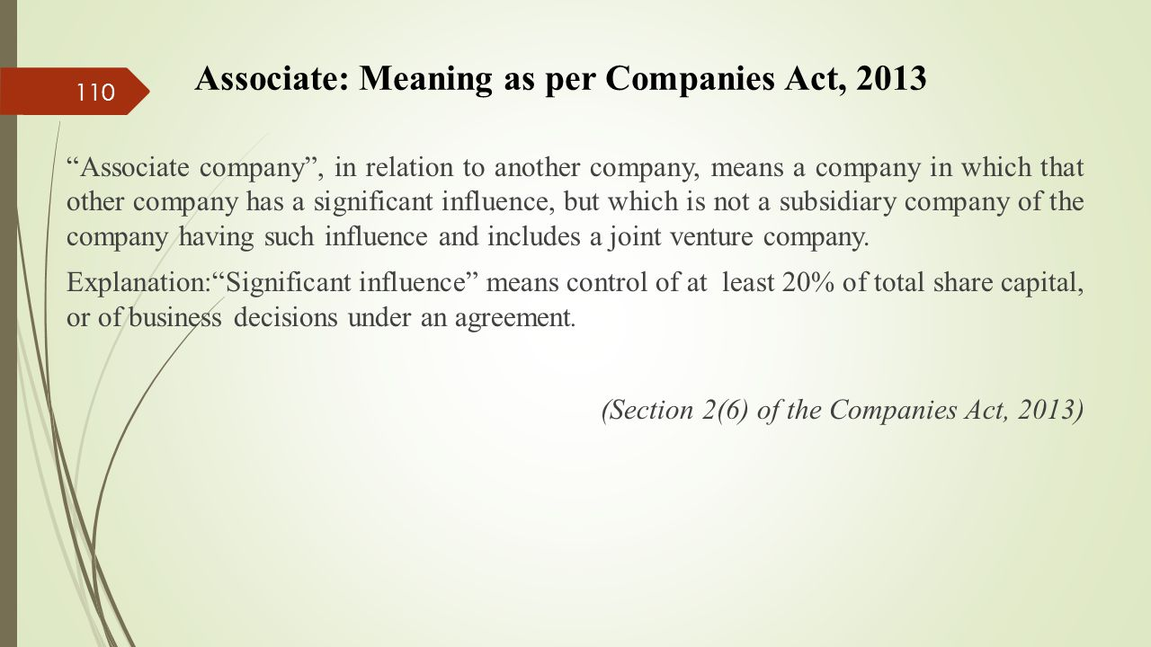Associate: Meaning as per Companies Act, 2013