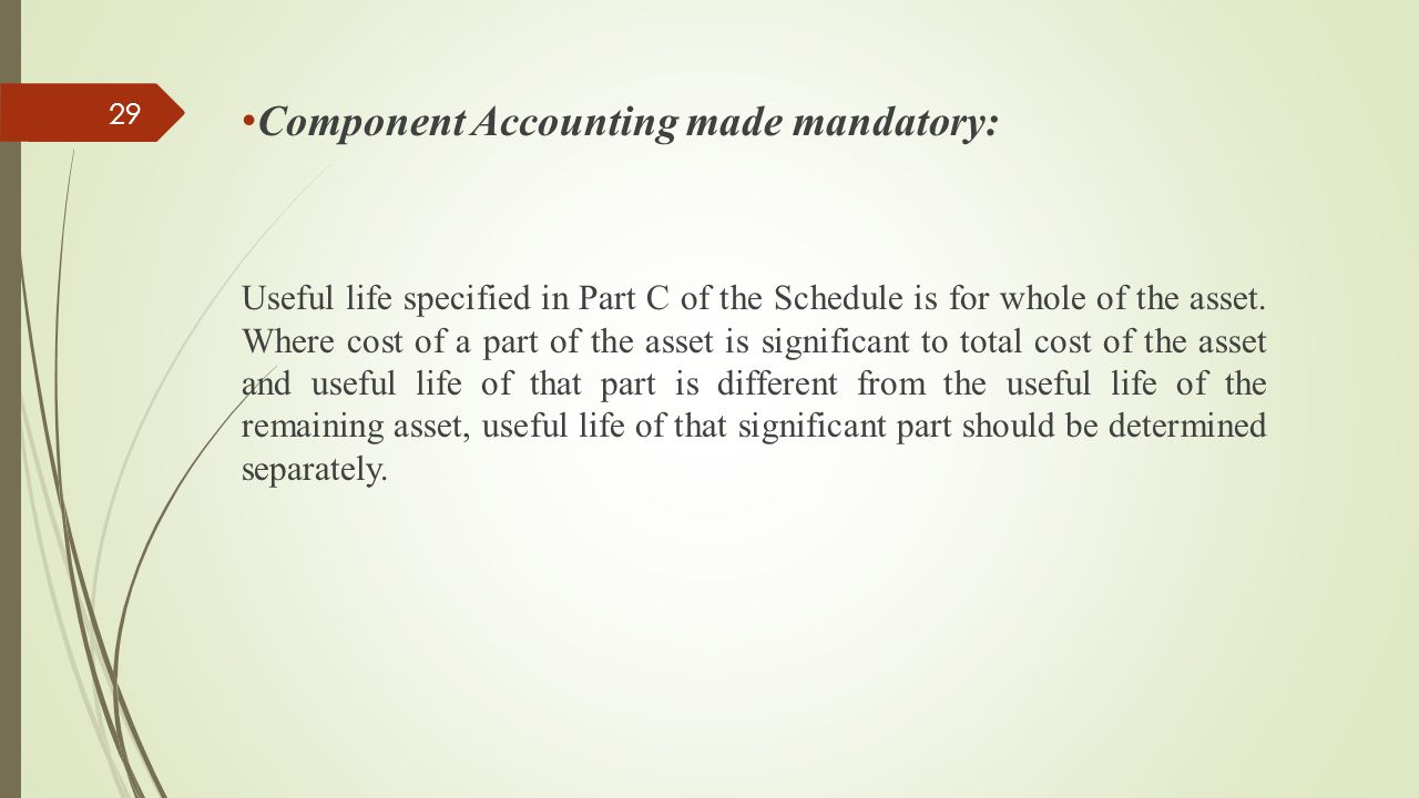 Component Accounting made mandatory: