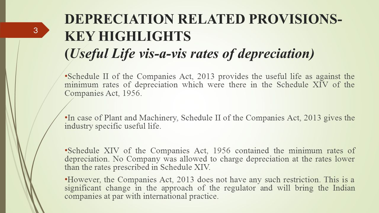 DEPRECIATION RELATED PROVISIONS-KEY HIGHLIGHTS (Useful Life vis-a-vis rates of depreciation)