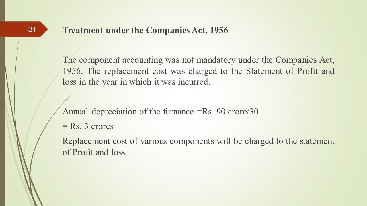Treatment under the Companies Act, 1956 The component accounting was not mandatory under the Companies Act, 1956.