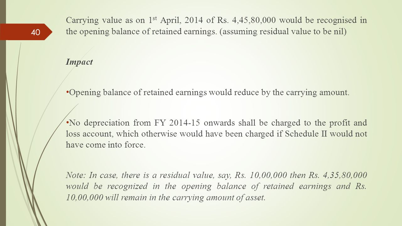 Carrying value as on 1st April, 2014 of Rs