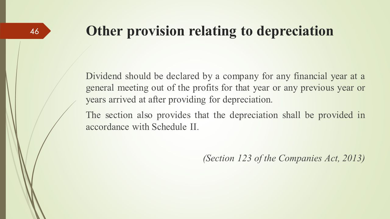 Other provision relating to depreciation