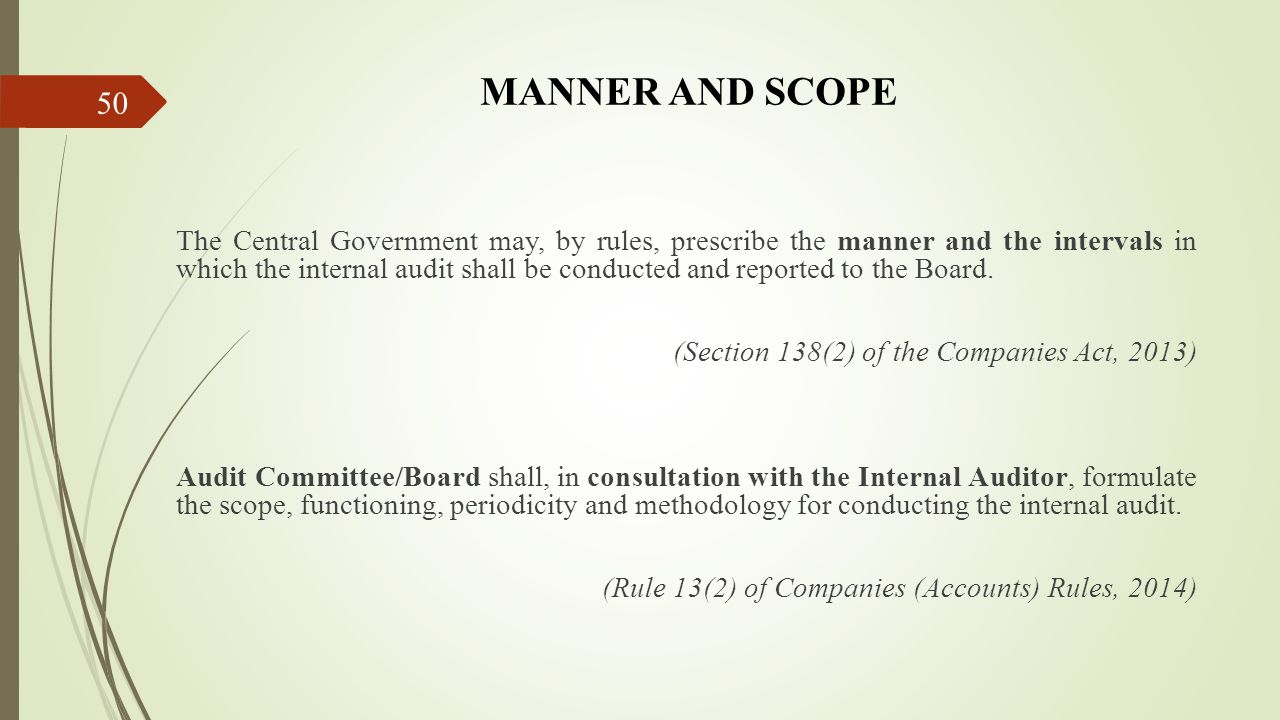 MANNER AND SCOPE