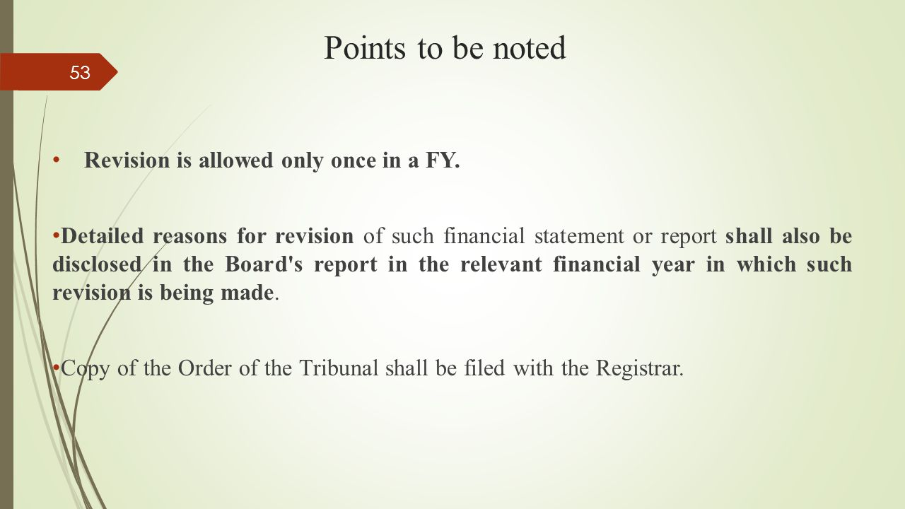 Points to be noted Revision is allowed only once in a FY.