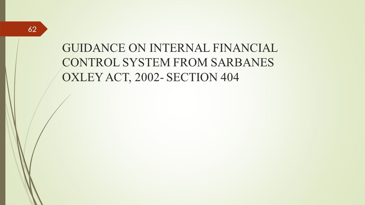 GUIDANCE ON INTERNAL FINANCIAL CONTROL SYSTEM FROM SARBANES OXLEY ACT, 2002- SECTION 404