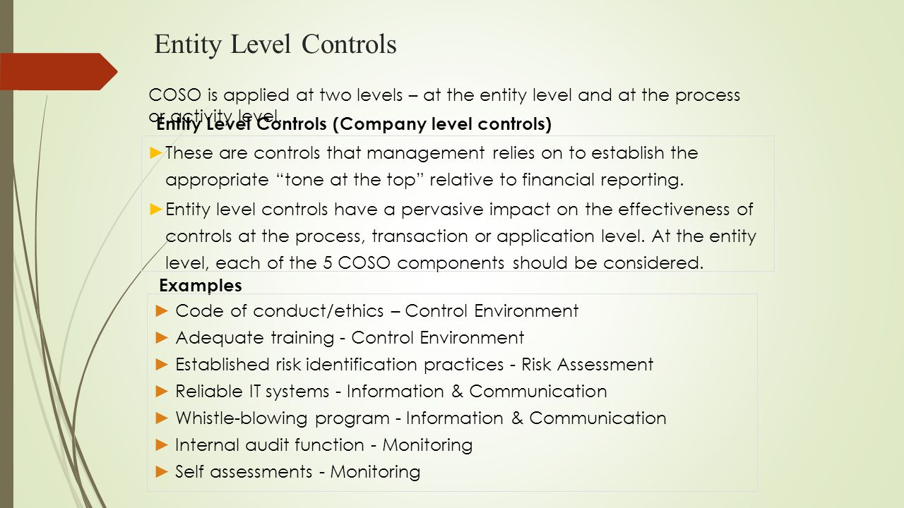 Entity Level Controls COSO is applied at two levels – at the entity level and at the process or activity level.