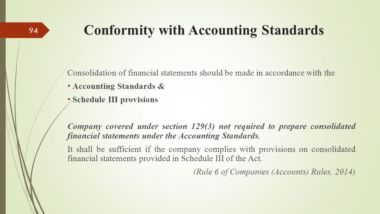 Conformity with Accounting Standards