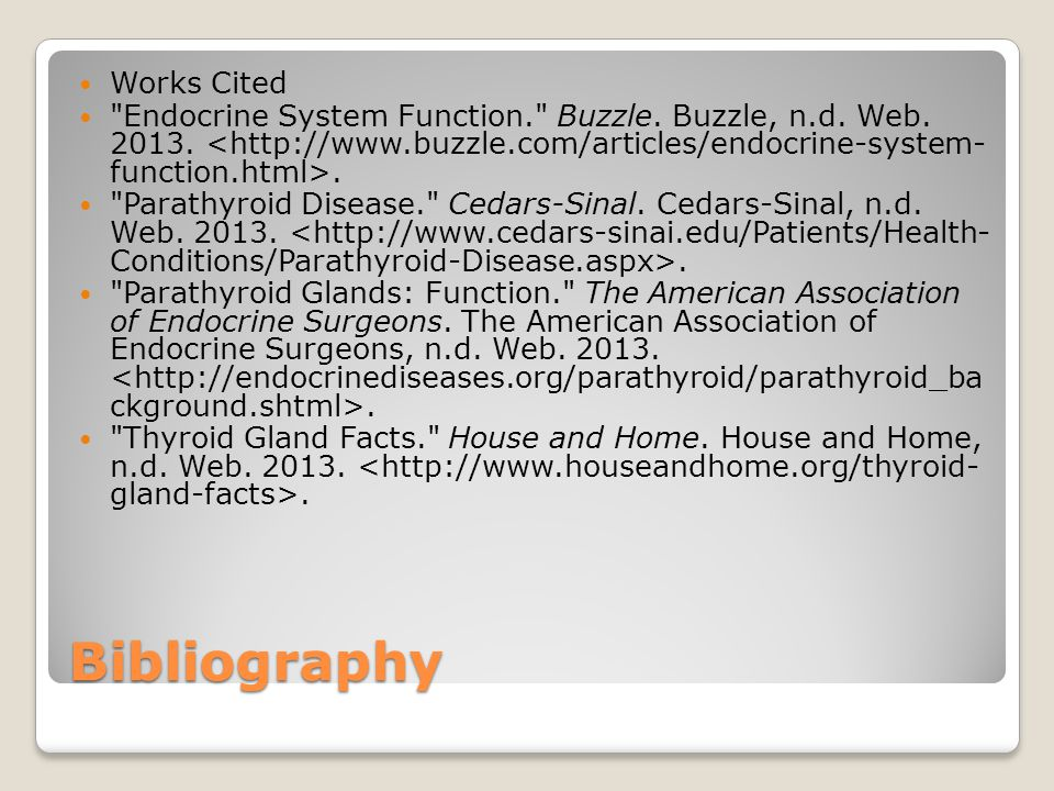 Bibliography Works Cited