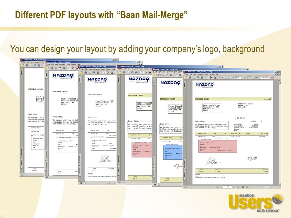 Different PDF layouts with Baan Mail-Merge