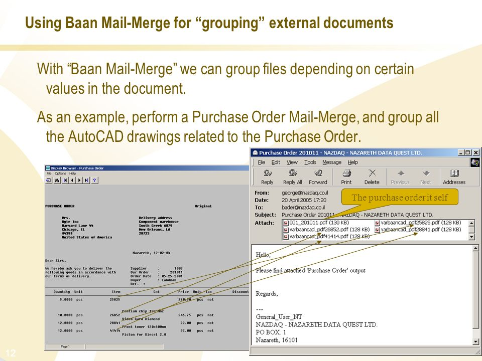 Using Baan Mail-Merge for grouping external documents