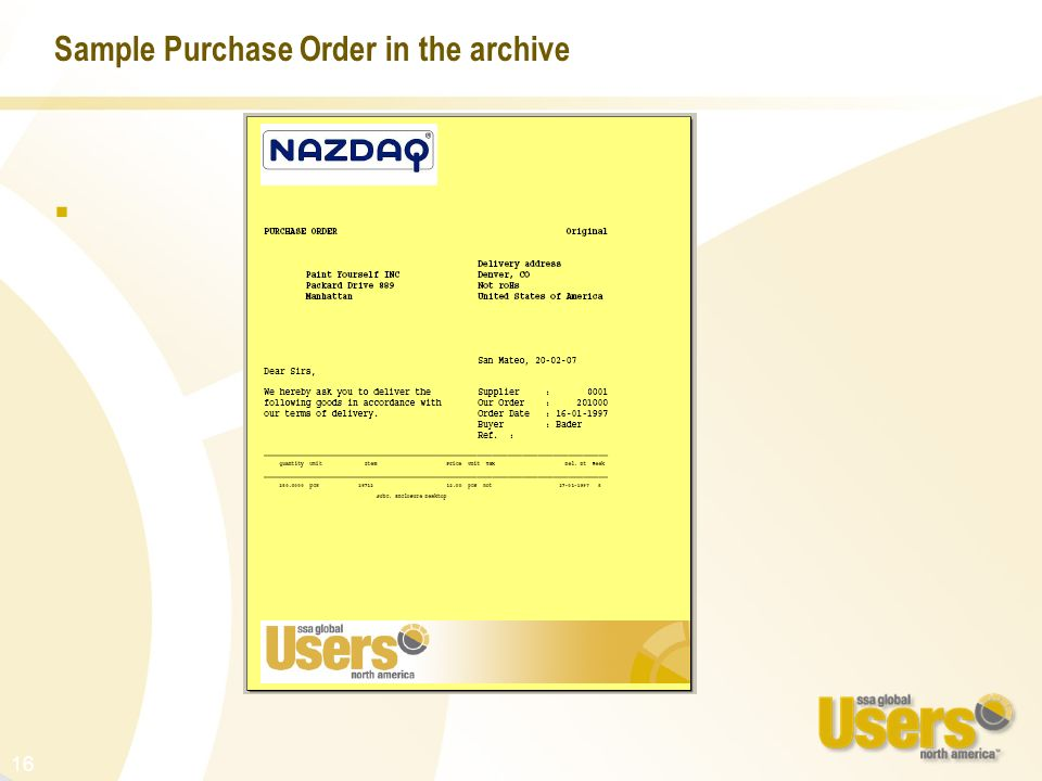 Sample Purchase Order in the archive